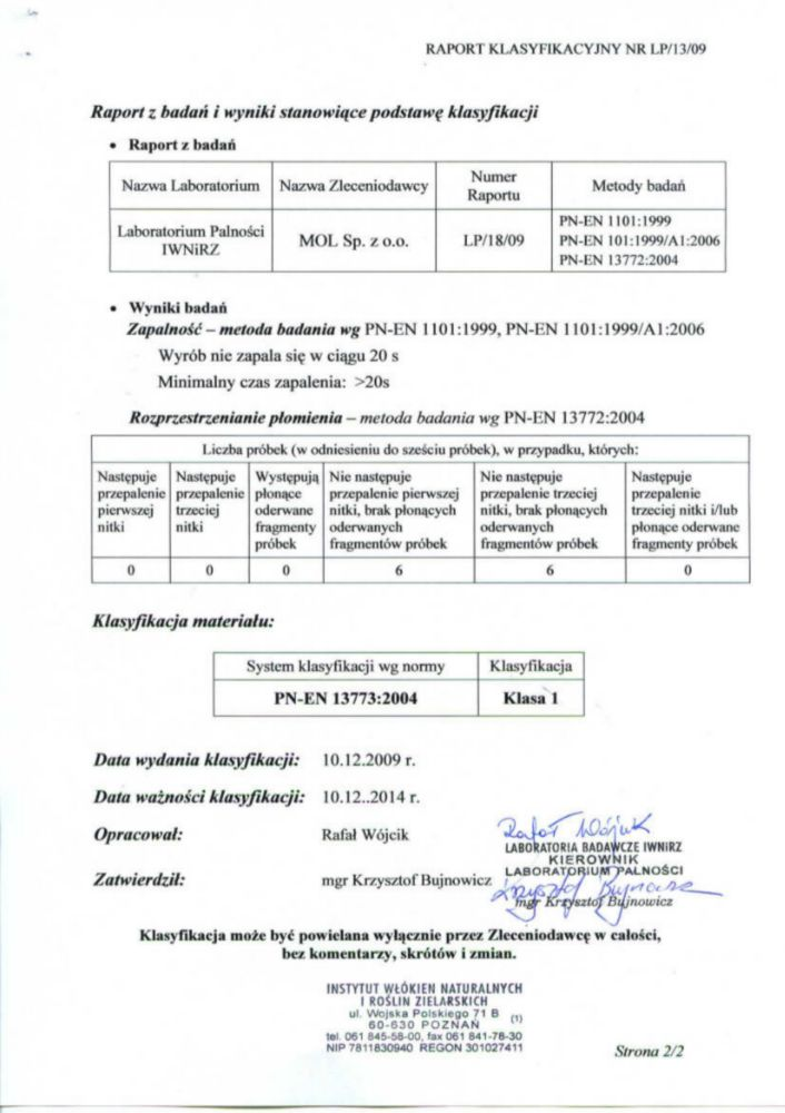 Raport klasyfikacyjny MOL